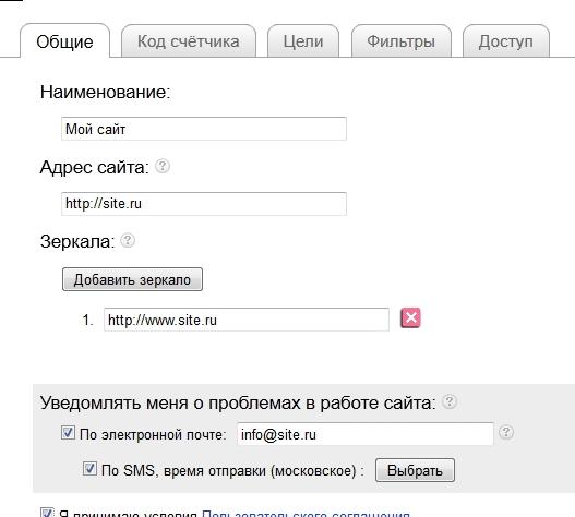 Ввод адреса сайта, зеркал и необходимости уведомлений